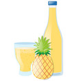 fresh pineapple and juice in bottle vector image