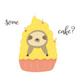 funny cute sloth in cake postcard poster vector image vector image