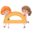 girl holding protractor math tool vector image