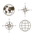 globe wind rose compass vector image