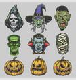 halloween vintage set vector image vector image