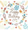 Happy Birthday card with flowers birds and vector image vector image