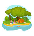 happy family having a rest on a picnic outdoors vector image vector image
