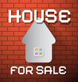 House For Sale Paper Title on Red Brick Wall vector image
