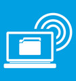 laptop and and wireless icon white vector image vector image