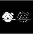 manual circular saw icon set white color flat vector image vector image