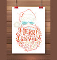 merry christmas lettering in santa claus beard vector image vector image