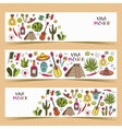 Mexico colored doodle banners with traditions vector image
