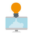 monitor computer with bulb launcher vector image vector image