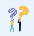 people with a question mark on white background vector image vector image