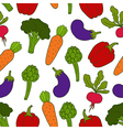 Seamless background with different vegetables vector image vector image