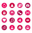 set of wedding icons on color background vector image