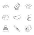 Ski resort set icons in outline style Big vector image vector image