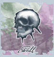 skull drawn in watercolor style on vintage vector image vector image