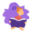 sleeping child with book and imaginary monster vector image