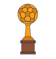 soccer trophy cup championship blue lines vector image vector image
