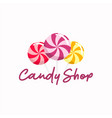 sweet candy shop logo sign icon design vector image