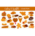 sweet delicious cookies and waffles isolated vector image vector image