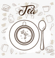 tea cup with spoon topview vector image vector image
