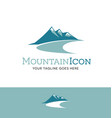 teal mountains logo vector image vector image