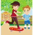 The happy boy on a skateboard vector image vector image