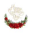 valentines day postcard half wreath with red rose vector image