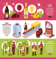 winery isometric horizontal banners vector image vector image