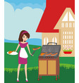 woman cooking on a grill vector image