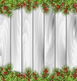 Wooden Background with Fir Branches and Berrie vector image vector image