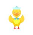 funny little yellow duckling sailor cartoon vector image