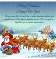 Santa with sledge full of gifts and reindeers vector image