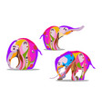 a set of three elephants in an abstract version vector image