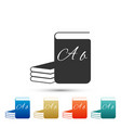 abc book icon dictionary book sign alphabet book vector image