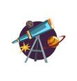 astronomy symbols spyglass telescope stars and vector image vector image