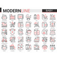 baby care web icon set red vector image