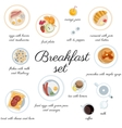 Big breakfast set isolated on white top view vector image vector image