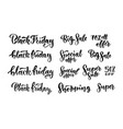black friday sales brush lettering inscriptions vector image