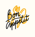 bon appetit lettering food poster with doodle vector image