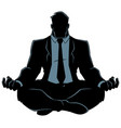 businessman meditating silhouette vector image vector image