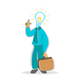 businessman with electric bulb head vector image