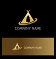 camp pine tree gold logo vector image vector image