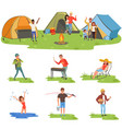 camper people set tourists traveling camping and vector image vector image