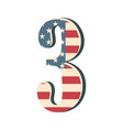 capital 3d number three with american flag texture vector image