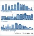 cities usa - kansas city fresno colorado vector image vector image