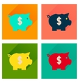 Concept of flat icons with long shadow piggy bank vector image vector image