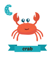 Crab C letter Cute children animal alphabet in vector image vector image