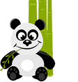 cute little panda with green bamboo vector image