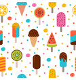 cute summer seamless pattern with ice cream and vector image vector image