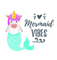 cute unicorn with mermaid tail vector image vector image