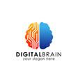 digital brain logo design template electronic vector image